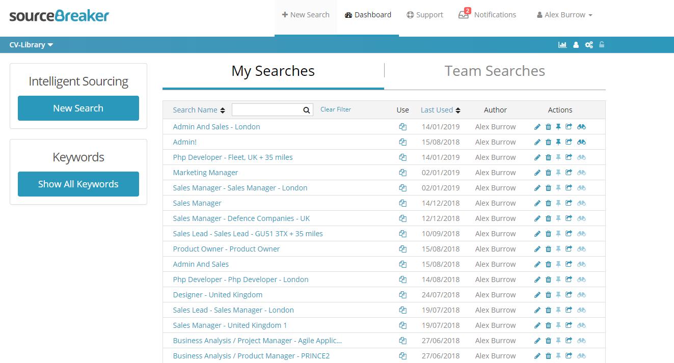 Partner Integrations Set Up - SourceBreaker   CV-Library co uk